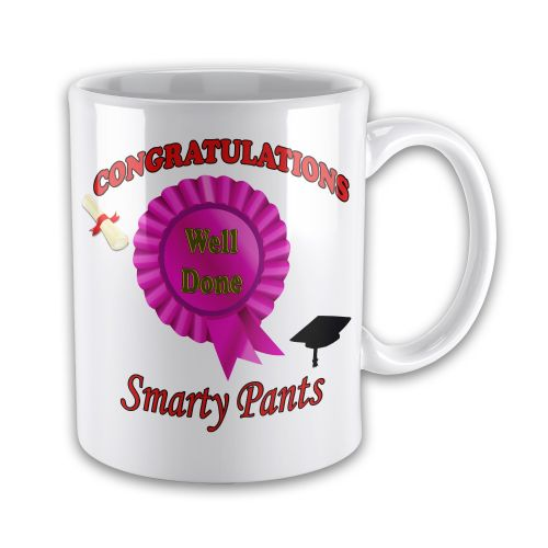 Graduation -Congratulations Well Done Smarty Pants Funny Novelty Gift Mug-(PINK)